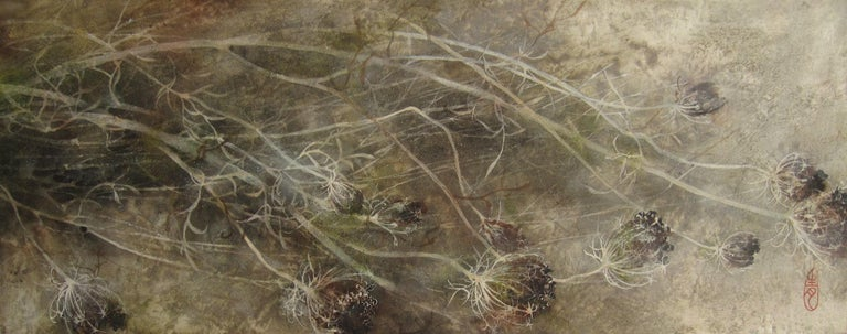 Yiching Chen Figurative Painting - Umbel (Ombelle) by Chen Yiching - Contemporary Nihonga Painting, Flora