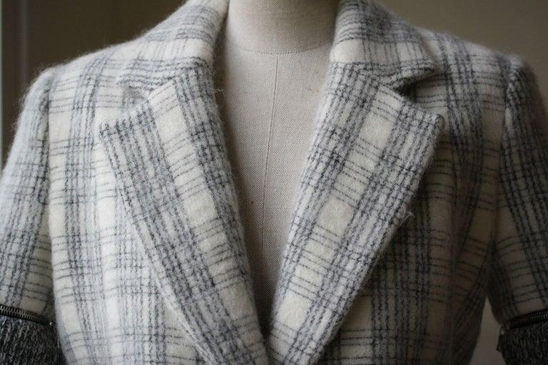 Beige Yigal Azrouel Windowpane Plaid Coat  For Sale