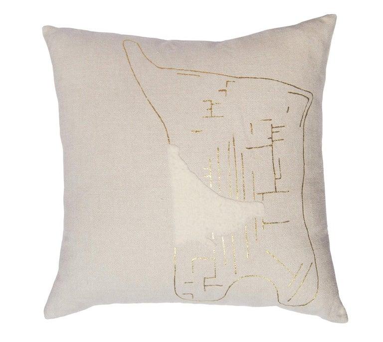 American Yin Bonbon Chouval Pillow, Linen For Sale