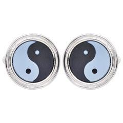 Yin Yang Agate Carving Gemstone Sterling Silver Cufflinks