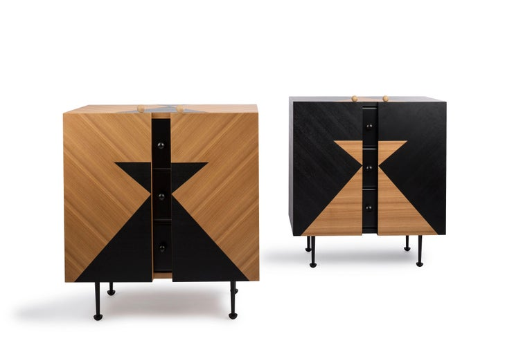 Yin-Yang chest drawers designed by Thomas Dariel, Maison Dada Measures: W 80 x D 47 x H 93 cm Body in painted and natural ash veneer • front in matte paint ?nish Structure in MDF • Inside drawers painted in black matte ?nish Metal legs with black