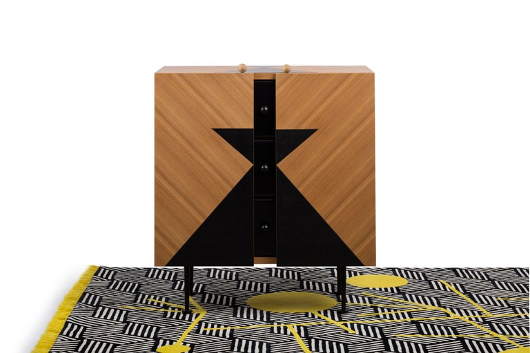 Wood Yin-Yang Chest Drawers Designed by Thomas Dariel For Sale