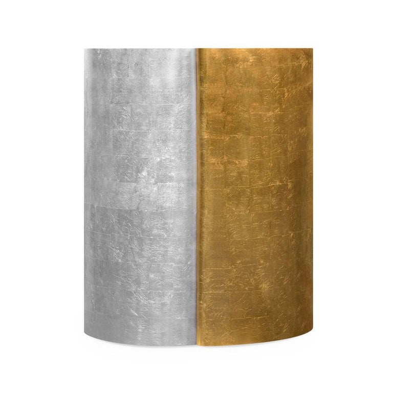 Modern Yin-Yang Round Martini Table in Traditional Gold and Silver Leaf Finish For Sale
