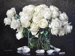 """Yin Yong Chun, """"White Roses"""", 32x43 Fresh Floral Oil Painting on Canvas"""