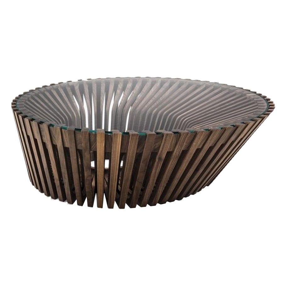 Ying & Yang Wood / Glass Side Table, Designed by Steve , Made in Italy