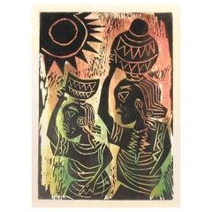 Yinka Adeyemi Fulani Maidens Linocut Tribal Art