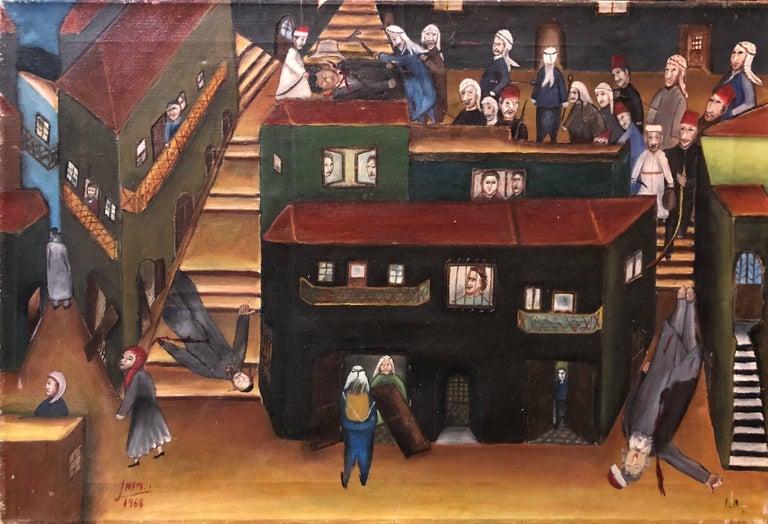 Israeli Folk Art Oil Painting Arab Pogrom Massacre Disturbing  - Brown Still-Life Painting by Yitzchak Roman