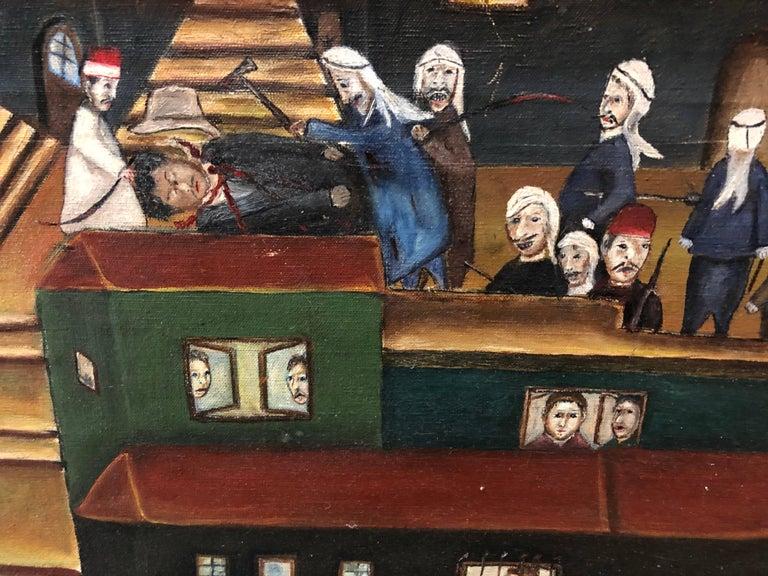 Israeli Folk Art Oil Painting Arab Pogrom Massacre Disturbing  For Sale 1