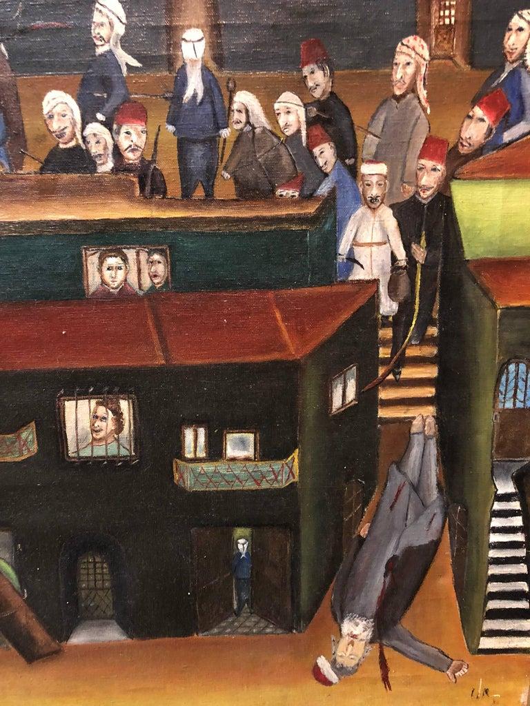 Israeli Folk Art Oil Painting Arab Pogrom Massacre Disturbing  For Sale 2