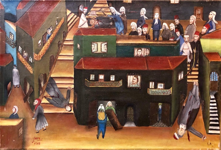 Yitzchak Roman Still-Life Painting - Israeli Folk Art Oil Painting Arab Pogrom Massacre Disturbing