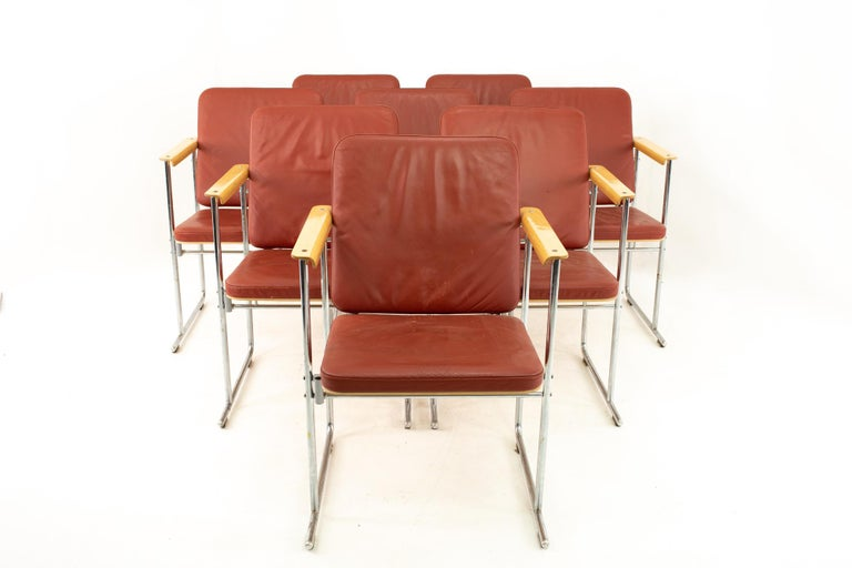 Yjro Kukkapuro midcentury dining chairs, set of 8  Each chair measures: 24 wide x 25 deep x 34 high with a seat height of 18 inches   This price includes getting this set in what we call restored vintage condition. Upon purchase it is fixed so