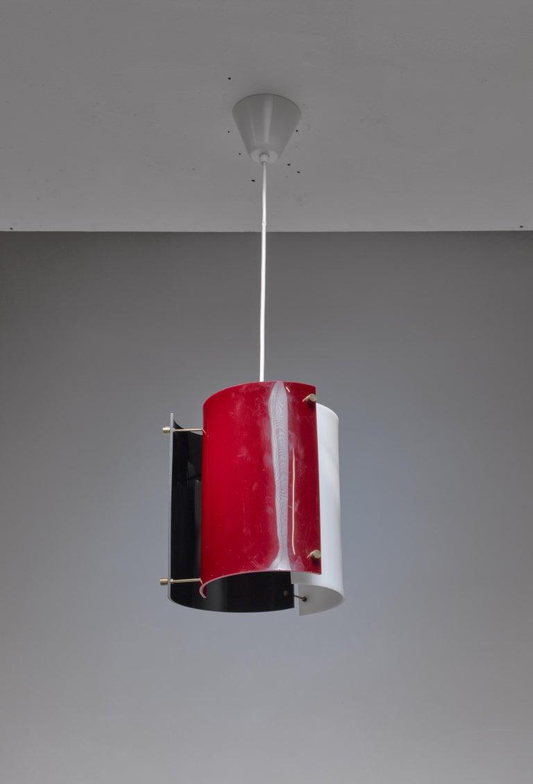 Finnish Yki Nummi Plexiglass Pendant Lamp for Orno, Finland, 1960s For Sale