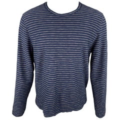 YMC Size M Navy & Grey Stripe Cotton Crew-Neck Pullover