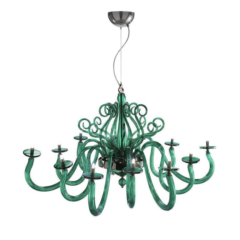 Yncanto Green Chandelier 12 Lights In New Condition For Sale In Milan, IT