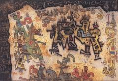 Tribal Coast  (Woman Artist, Modernism, Expressionist, pseudo-hieroglyph, frame)
