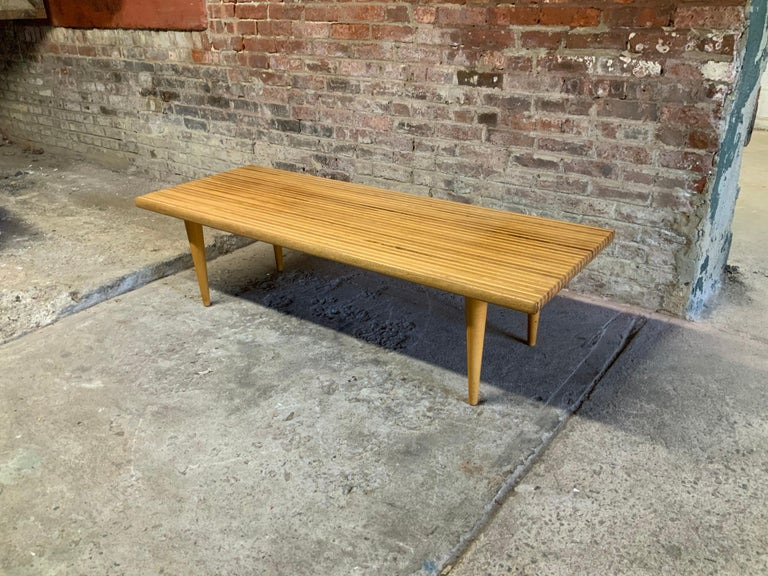 Yngvar Sandstrom for Nordiska Kompaniet butcher block coffee table stunning crafted coffee table. Made in Sweden, circa 1955. Crafted with alternating teak and beech (possibly maple) wood strips with tongue and groove joinery that adds to the simple