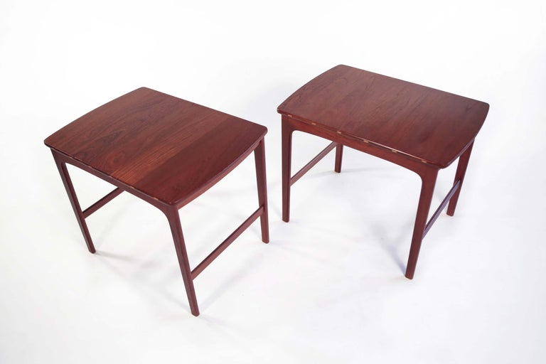 Yngvar Sandstrom side tables in solid teak by AB Seffle Møbelfabrik, Sweden, 1960s  Pair of Scandinavian side tables in solid teak by Yngvar Sandstrom by AB Seffle Møbelfabrik, Sweden 1960.  This piece is a well-known design that is well