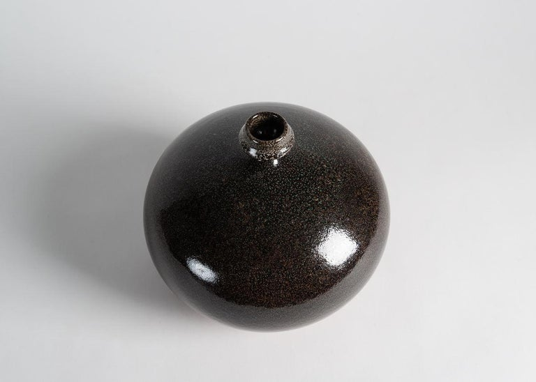 Glazed Yngve Blixt, Round Vase with Beveled Rim, Sweden, 1970s For Sale