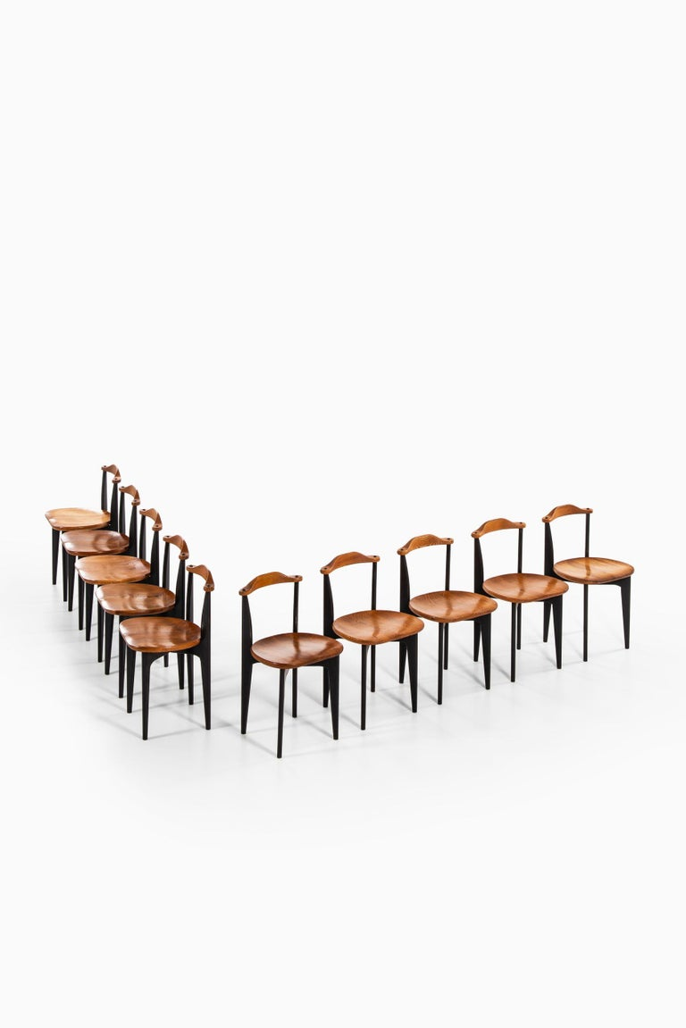 Rare set of 10 dining chairs model Thema designed by Yngve Ekström. Produced by Swedese in Sweden.