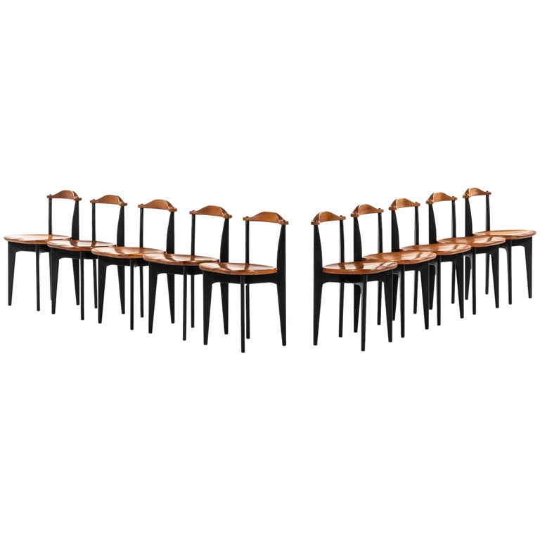 Yngve Ekström Dining Chairs Model Thema Produced by Swedese in Sweden For Sale