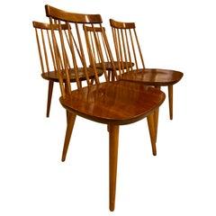 Yngve Ekström for Stolab, Midcentury Swedish Pinocchio Dining Chairs Set of 4
