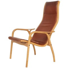 "Yngve Ekström for Swedese Leather ""Lamino"" Lounge Chair, Sweden, 1956"