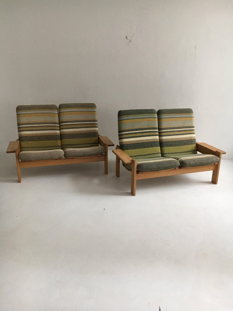 Mid-Century Modern Yngve Ekstrom for Swedese Møbler Two-Seat Sofas Loveseats a Pair For Sale