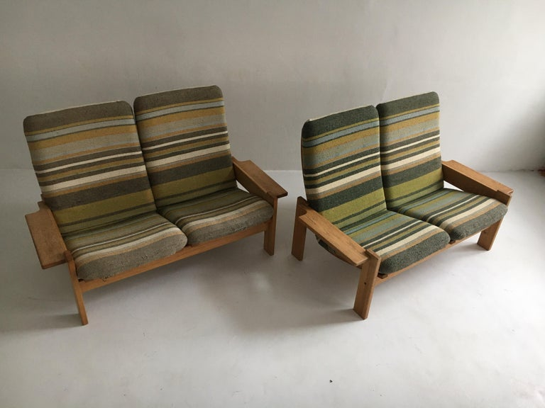 Mid-20th Century Yngve Ekstrom for Swedese Møbler Two-Seat Sofas Loveseats a Pair For Sale