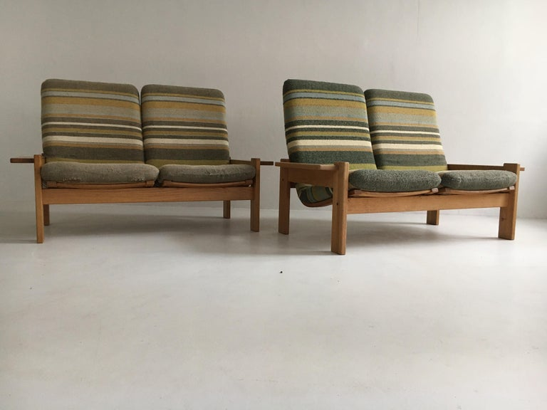 Brass Yngve Ekstrom for Swedese Møbler Two-Seat Sofas Loveseats a Pair For Sale
