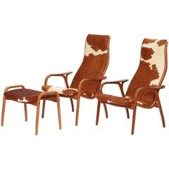 "Yngve Ekström ""Lamino"" Lounge Chairs and Ottoman, Swedese, 1950s"