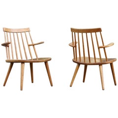 "Yngve Ekström Pair of Oak ""Sibbo"" 'Loungette' Chairs for Stolab, Sweden"