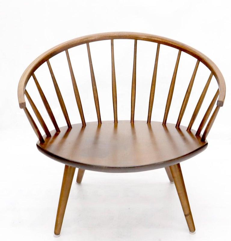 Mid-Century Modern Yngve Ekström Spindle Back Solid Birch Wide Fan Back Arka Lounge Chair For Sale