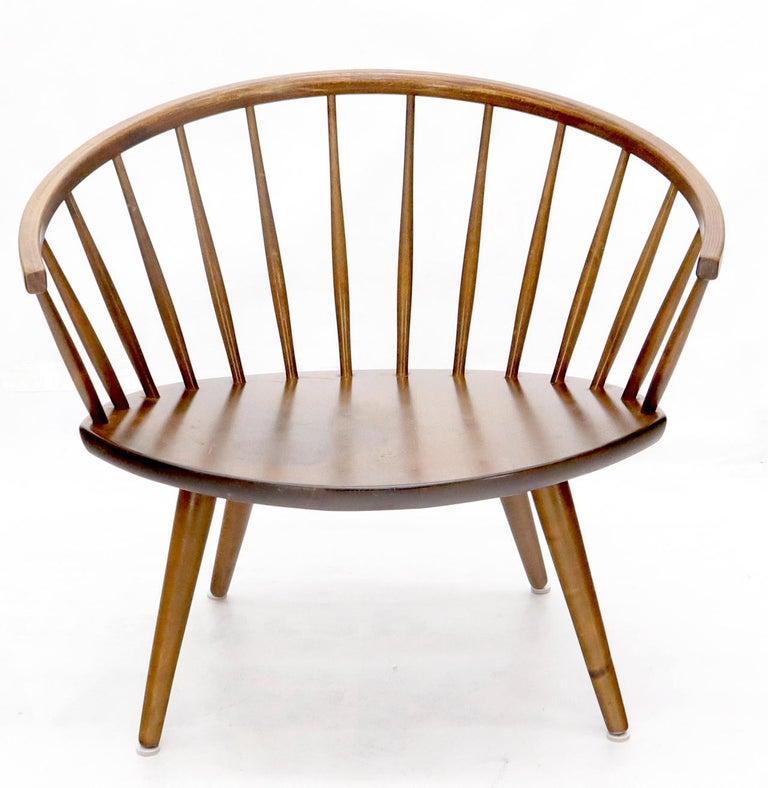 Swedish Yngve Ekström Spindle Back Solid Birch Wide Fan Back Arka Lounge Chair For Sale