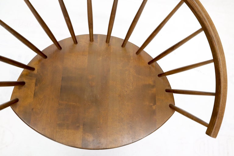 Yngve Ekström Spindle Back Solid Birch Wide Fan Back Arka Lounge Chair In Good Condition For Sale In Rockaway, NJ