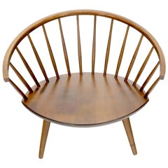 Yngve Ekström Spindle Back Solid Birch Wide Fan Back Arka Lounge Chair