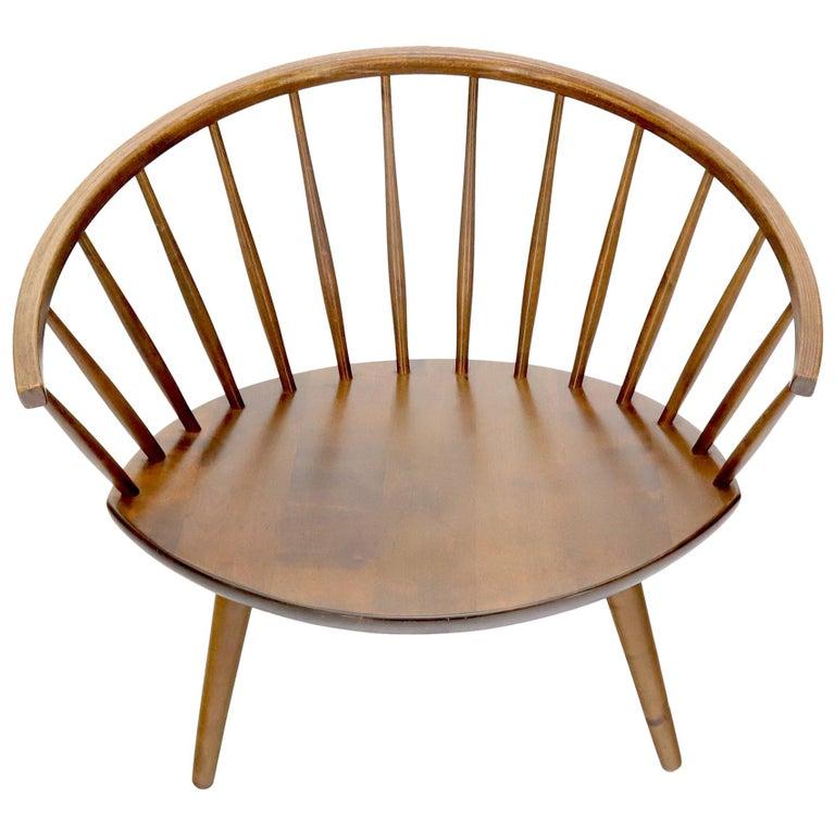 Yngve Ekström Spindle Back Solid Birch Wide Fan Back Arka Lounge Chair For Sale