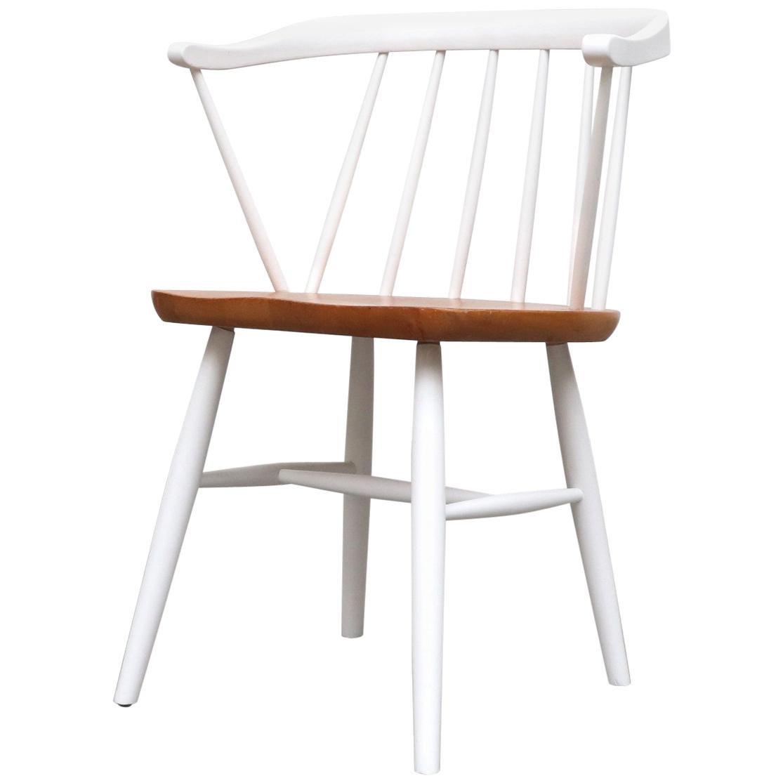 Yngve Ekstrom Style White Spindle Back Chair