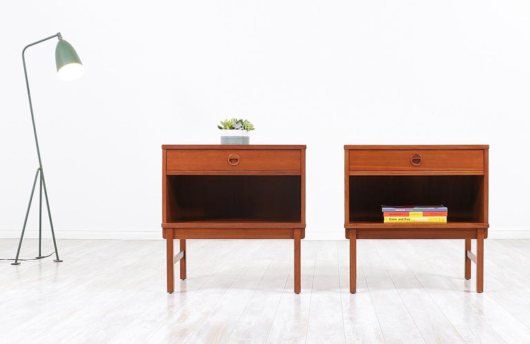 Scandinavian Modern Yngve Ekström Teak Nightstands for DUX