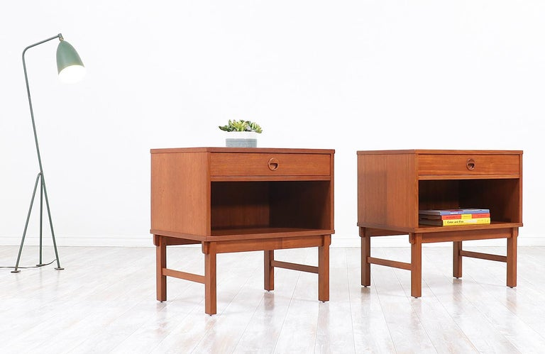 Swedish Yngve Ekström Teak Nightstands for DUX