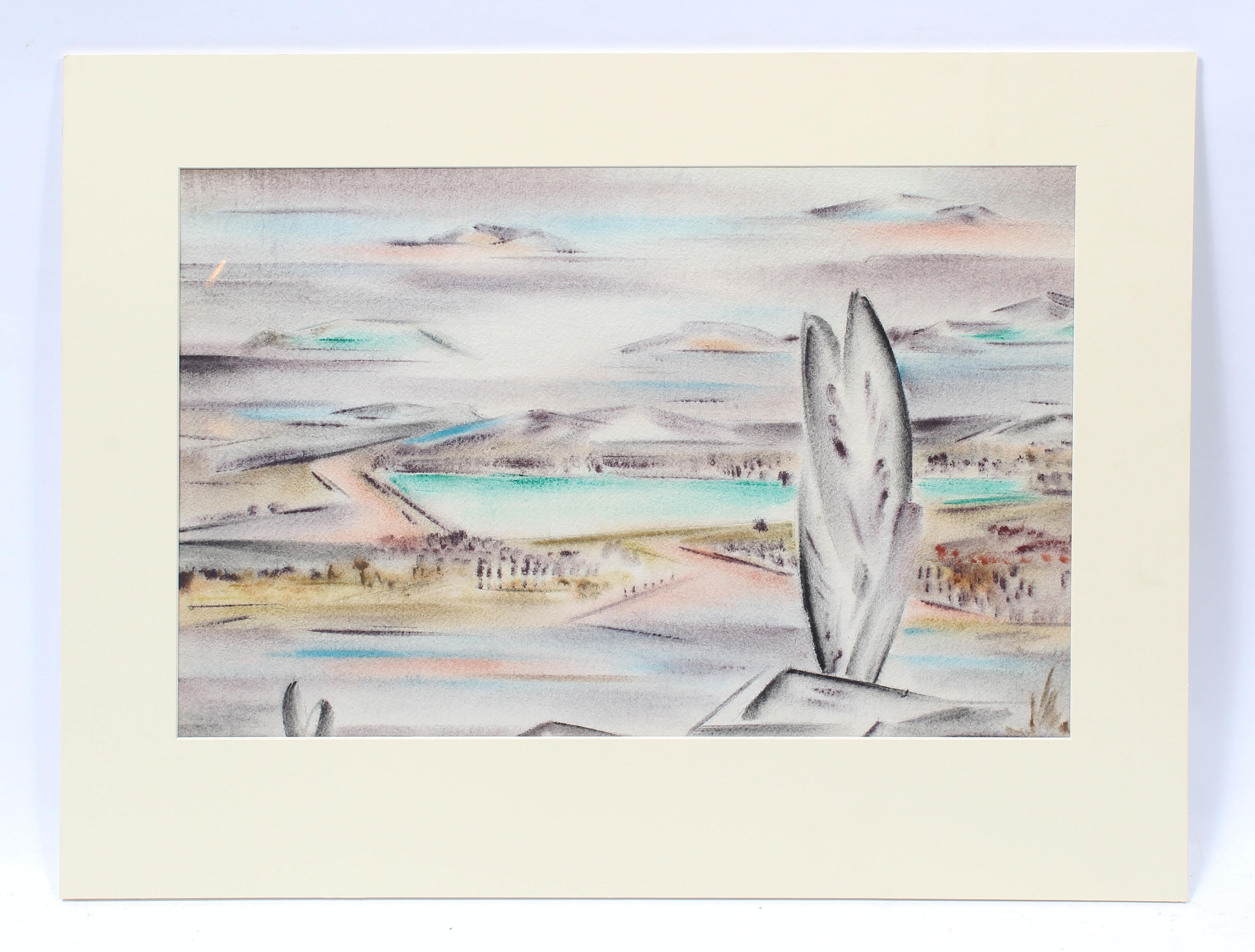 Antique American Modernist Abstract Landscape Signed Original Western Painting