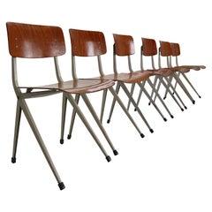 Ynske Kooistra for Marko S201 Set of 6 Industrial Chairs, 1950s Holland