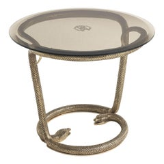 Yoa Circular Side Table in Metal Base and Bronze Glass Top by Roberto Cavalli