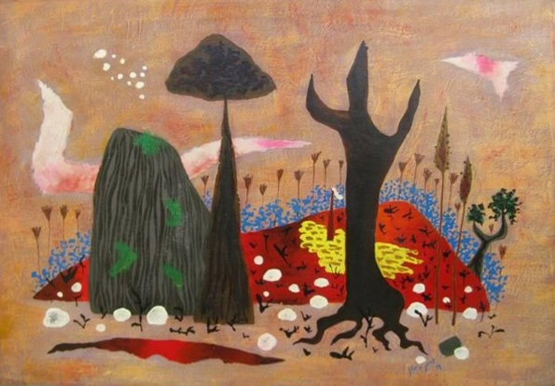 Colourful landscape oil painting by 20th century artist Yohanan Simon