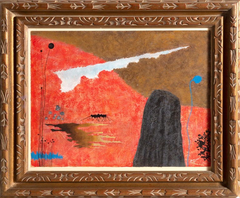 Artist: Yohanan Simon (1905-1976) Title: Landscape Medium: Gouache on paper laid to card Date: 1962 Signature: Signed and dated in Hebrew Paper Size: 16.75 x 21 inches Frame Size: 24.5 x 28.5