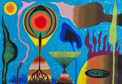 German Israeli Artist Abstract Colourful Lithograph
