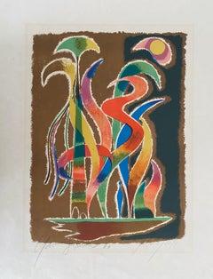German Israeli Artist Abstract Lithograph