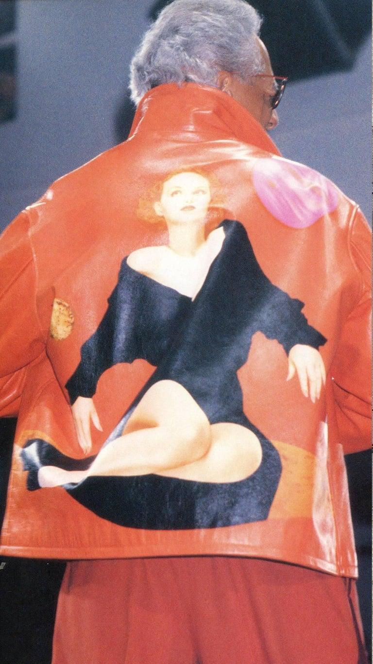 Yohji Yamamoto orange leather jacket with Marilyn Monroe pin-up, A / W 1991  For Sale 5