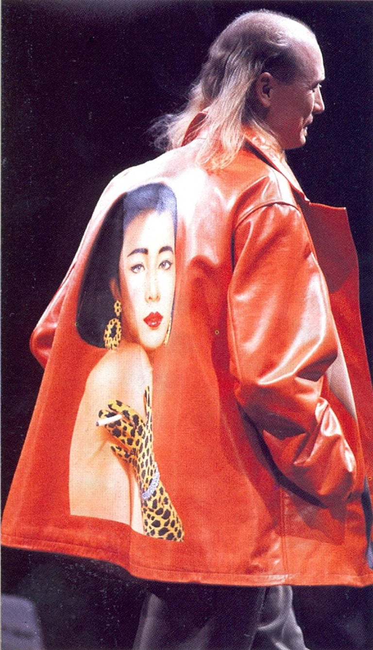 Yohji Yamamoto orange leather jacket with Marilyn Monroe pin-up, A / W 1991  For Sale 6