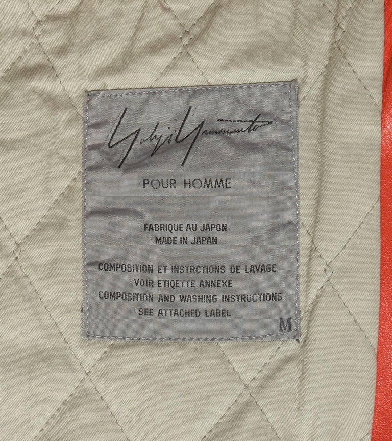 Yohji Yamamoto orange leather jacket with Marilyn Monroe pin-up, A / W 1991  For Sale 7