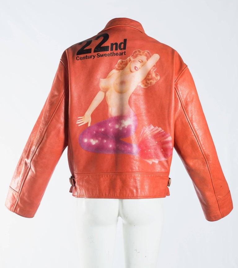 Orange Yohji Yamamoto orange leather jacket with Marilyn Monroe pin-up, A / W 1991  For Sale